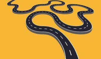 estrada sinuosa isolada vetor