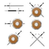 espada medieval e conjunto de escudo vetor