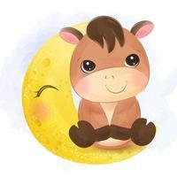 pequeno burro adorável sentado na lua vetor