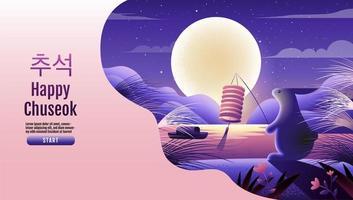 Happy Chuseok página inicial com coelho segurando lanterna vetor