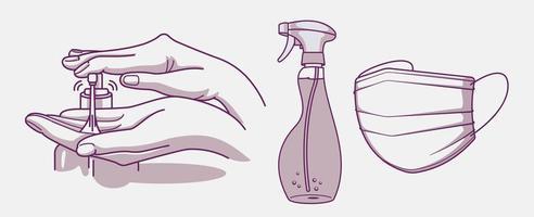 conjunto de projetos de higiene e prevenção de infecções vetor