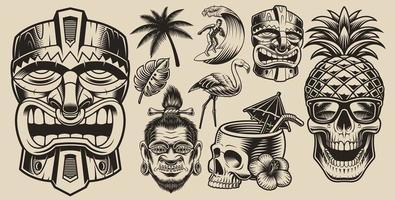 surf, hawai, conjunto de elementos de férias vetor