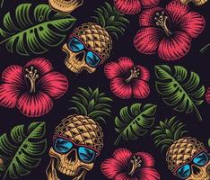 padrão sem emenda com padrão de crânio, flores e folhas