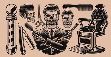 conjunto de elementos vintage para barbearia vetor
