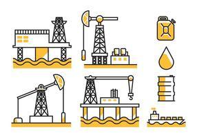Ícones de vetores de campos petrolíferos