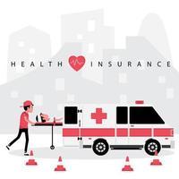 seguro saúde com pessoa sendo resgatada por ambulância vetor