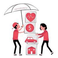 corretor de seguros segurando guarda-chuva sobre ícones de blocos vetor