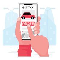 mão reserva táxi do telefone usando o aplicativo vetor