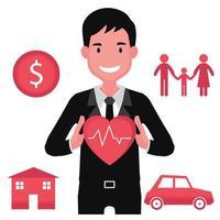 corretor de seguros segurando um coração com linhas de eletrocardiograma vetor