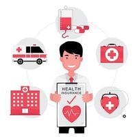 agente de seguro saúde segurando uma apólice de papel com ícones ao redor vetor