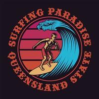 surfista estilo vintage e emblema circular de ondas vetor