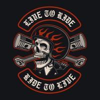 crânio de motociclista com pistões cruzados vetor