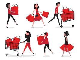 conjunto de pessoas de compras vetor