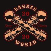 bastões de barbeiro e distintivo de letras para camiseta vetor