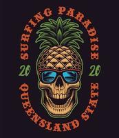 crânio de abacaxi com tema de surf para camiseta vetor
