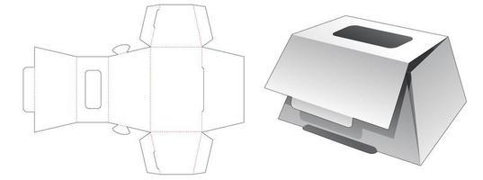 Caixa de padaria em forma de trapézio com janela superior vetor