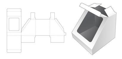 caixa de brinquedos em formato triangular com janela