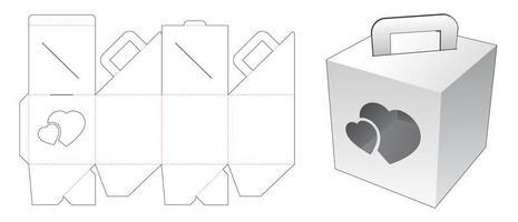 segurando a caixa com janela de coração vetor