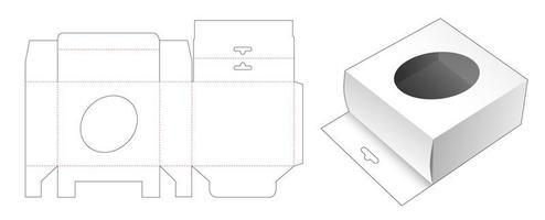caixa de embalagem com orifício para pendurar e janela elíptica