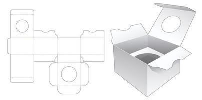 caixa de embalagem com suporte e janela circular vetor
