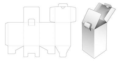Caixa retangular de 2 abas com ponto travado vetor