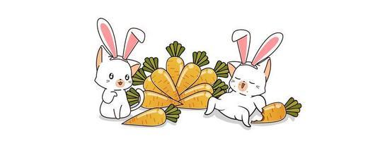 2 gatos coelhinhos e cenouras vetor