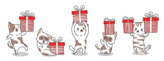 5 gatos diferentes com caixas de presente