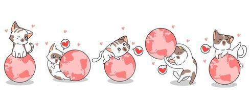 5 gatos diferentes amando o mundo vetor