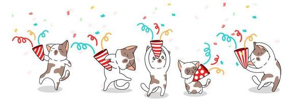 5 gatos fofos comemorando vetor