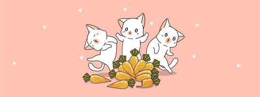 gatos e cenouras fofos vetor