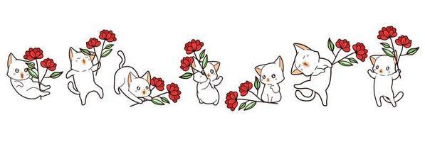 7 gatos kawaii diferentes segurando flores vetor