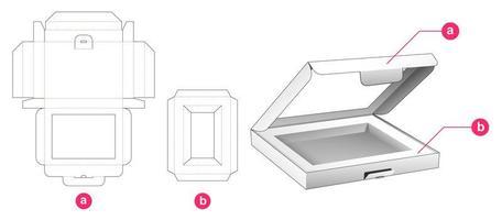 caixa flip plana com janela e encaixe vetor