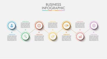 Infográfico de círculo colorido de 7 etapas
