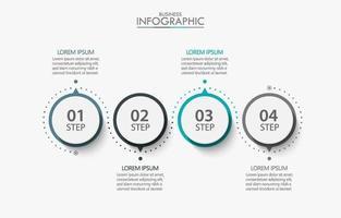 Modelo de infográfico de negócios circular de 4 etapas