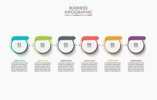 círculo colorido com infográfico de rótulos de setas