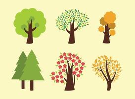 Seis árvores vetoriais vetor