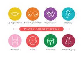 Ícones de cirurgia plástica vetor