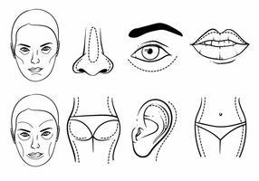 Conjunto de ícones de cirurgia plástica