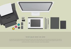 Conjunto de Staationery de layout de espaço de trabalho da impressora toner vetor