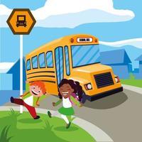 alunos felizes e um ônibus escolar vetor
