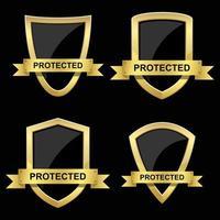 conjunto de escudo de poção dourada vetor