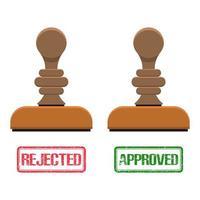 marca de carimbo aprovada e rejeitada vetor