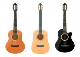 conjunto de violão clássico estiloso vetor