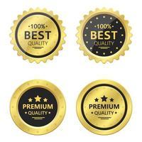emblemas de ouro de qualidade premium vetor