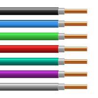 conjunto de fio de cobre colorido vetor