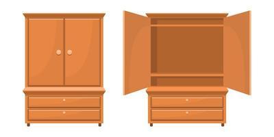 mobília do quarto de madeira retrô vetor