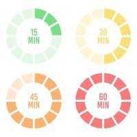 conjunto de cronômetros coloridos de hora e minuto vetor