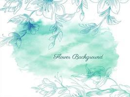 mão desenhada flores verdes e respingos de aquarela vetor