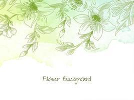 aquarela verde pastel desenhado à mão decoração de flores vetor