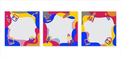 padrão colorido e suprimentos de volta às molduras da escola